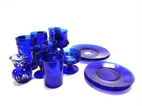 Cobalt Blue Art Glass and Glassware - Bohemian Vase Kings Crown Thumbprint Etc