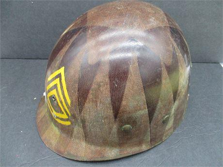 Vintage Genuine US Military Army 1970's  Covered Helmet