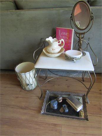 Mirrored Vanity Tray, Antique Vanity Table Mirror on Stand, Vanity Stool & More