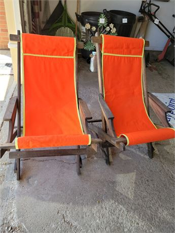 Retro Lawn Chairs - Set of 2. Folding