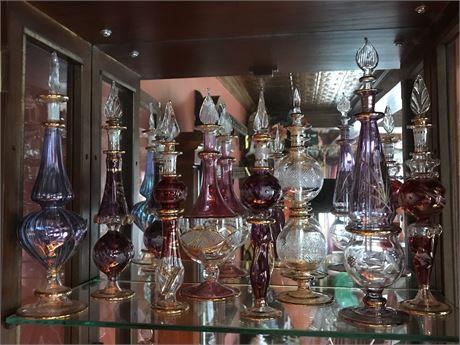 8 Tall Venetian Glass Perfume Bottles