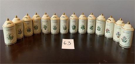 "Vintage ""The Lenox Spice Garden"" Fine Porcelain Spice Jars"