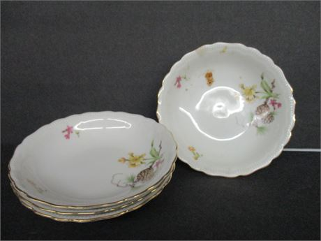 """4 Pieces 5"""" Fancy Hand Pained Fine Bavarian Germany China"""