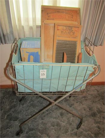 Vintage Laundry Cart, Washboards and More