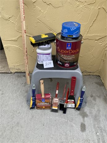 Painter's Lot - Includes Deck Stain, Brushes, Step Stool, Etc.