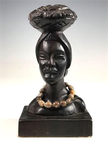 African Iron Wood Carved Bust of Woman Signed Wilson