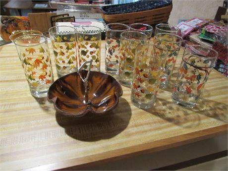 Tumblers & Snack Bowl - Autumn Theme