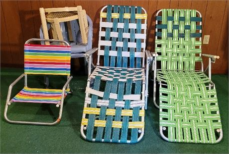 Webbed Lawn Chair/Loungers, Tables