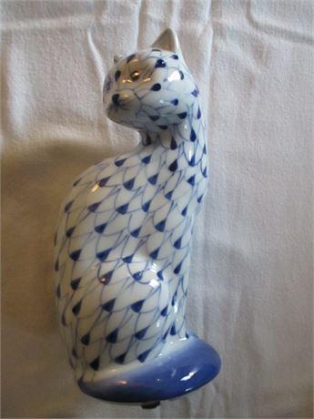 Genuine Blue & White Ceramic Cat  ANDREA by Sadak