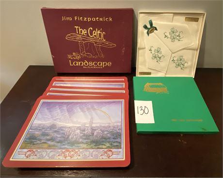Jim Fitzpatrick Irish Celtic Landscape Placemats and Irish Linen Handkerchiefs