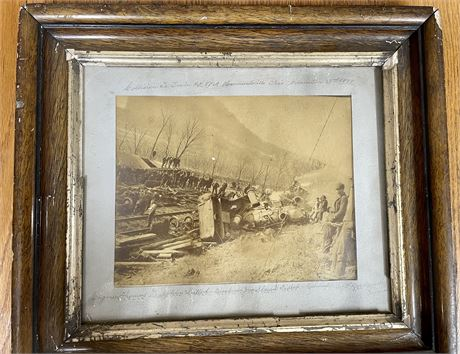 Antique Original Photograph of an Ohio Train Collision from 1888