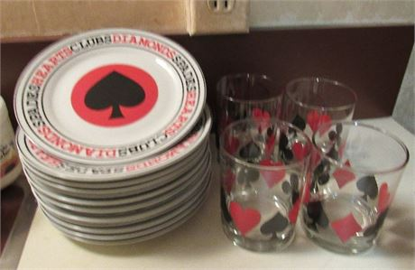 Poker Playing Card Party Themed Plates & Glasses