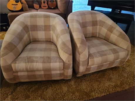 2 Marvin Fabric Swivel Chairs