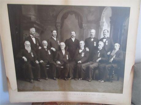"""Antique 1878 1896 Large 24"""" X 22"""" Black & white Masonic Photgrap"""