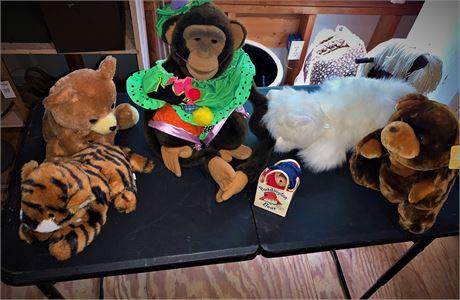 Paddington Bear and Variety of Plush Stuffed Animals