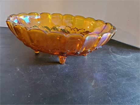 Vintage Carnival Glass Footed Bowl