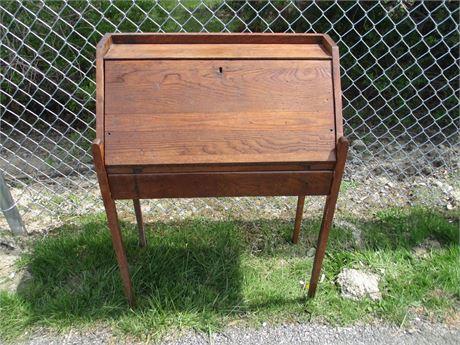 "Antique 27"" Oak Wood Small Secretary Writing Desk"