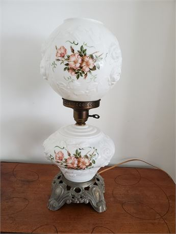Great Antique  GWTW Lamp Painted Roses
