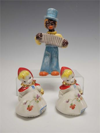 Hull Pottery Little Red Riding Hood Salt and Pepper with Man Playing Accordion P