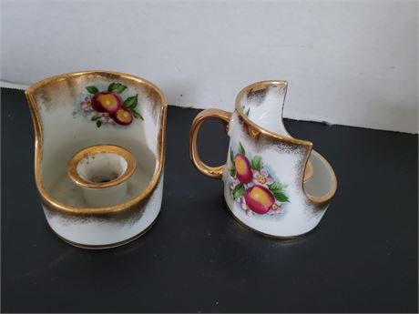 Pair of Vintage Royal Crown Candleholders Apple Blossom