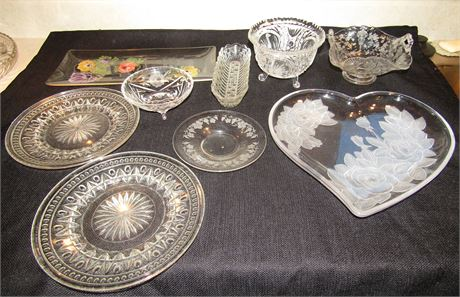 Vintage Hand Painted and Pressed Glass Serving Trays