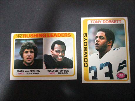 Tony Dorsett 315 & Walter Payton 333 1978 Topps NFL Player Cards