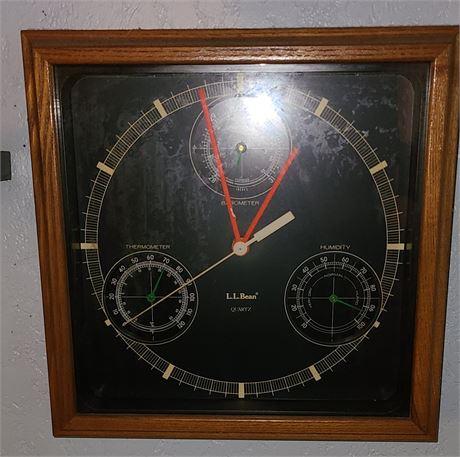 L.L.Bean Quartz Thermometer/Barometer/Humidity Clock