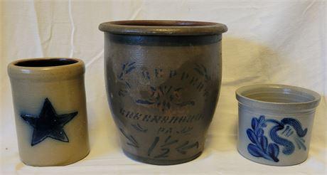3 Salt Glaze Stoneware Crocks