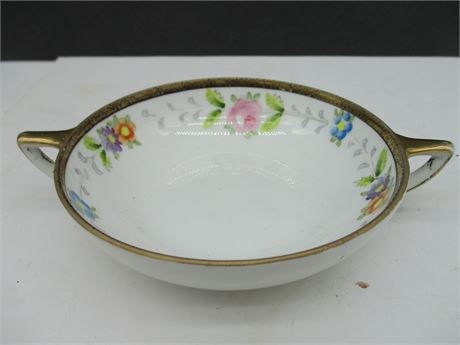 """Antique Hand Painted Nippon China Round Serving 5"""" Bowl w/ Handles"""