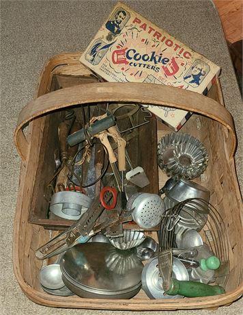 Basket Of Vintage Kitchenware