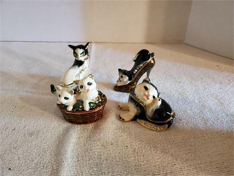 4 Cat Trinket / Pill Boxes