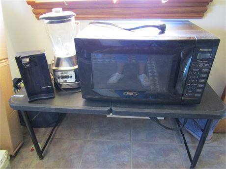 Panasonic Countertop Microwave, Oster Blender, and Proctor Silex Can Opener