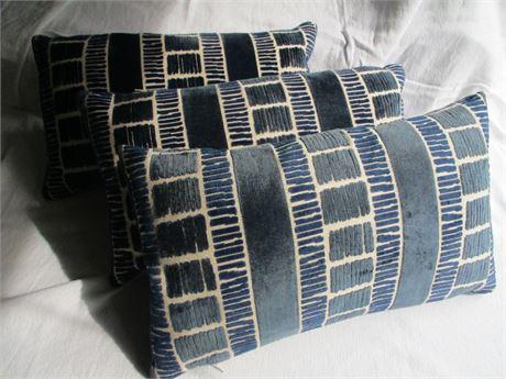 """Pair 19"""" Blue Texture Fabric Designer Accent Sofa Cushions"""