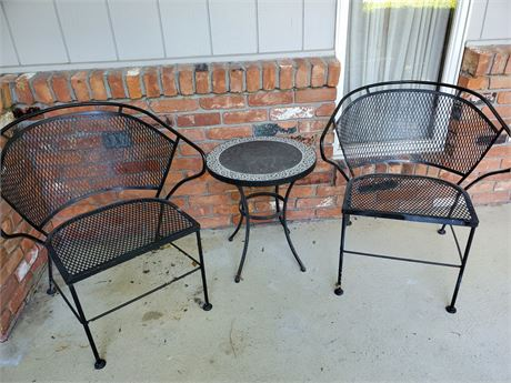 Vintage Iron Patio Table & 2 Chairs