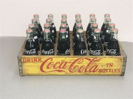 Vintage Wood Coca Cola Crate with 24 Full Bottles