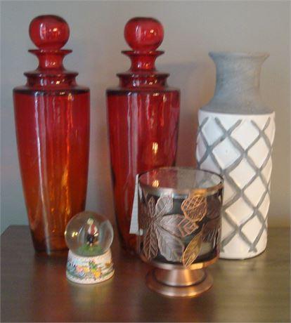 Amberina Bottles & Other Decor Items