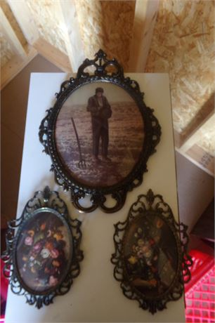 3 vintage pictures with ornate frames