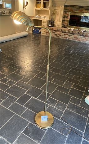 Brass Floor Lamp with Clam Shell Shade