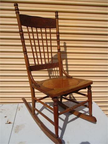 """Antique Restored 39"""" Oak Wood Granny Rocker w/ Wood Bottom"""