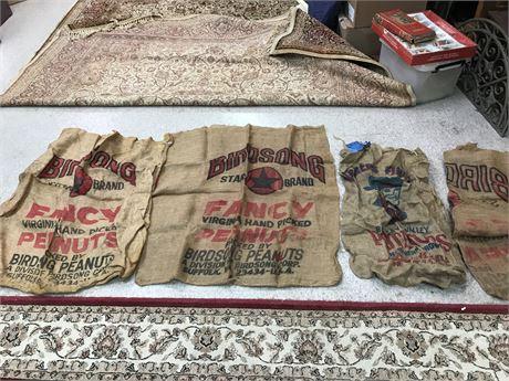 Vintage Burlap Sacks Lot 3 with Advertising