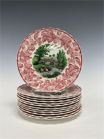 """Set of Twelve Copeland Spode Cows in River 9"""" Plates"""