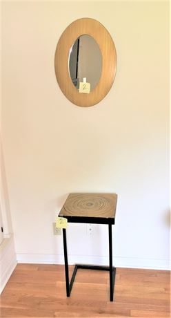 Pier 1 C-Shaped Base Side Table and Wood Framed Wall Mirror