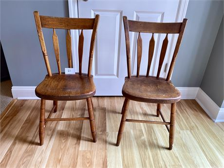 Two Early American Wooden Chairs