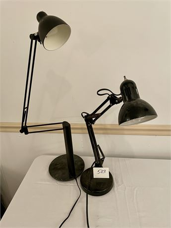 Pair of Artist's Lamps with Maneuverable Swing Arms