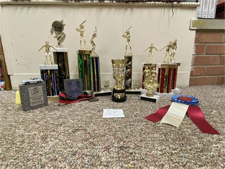 """Various Trophies and """"Pimp"""" Cup that Plays """"Shake Your Money Maker"""" by Ludacris"""