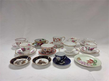 Collection of Vintage Antique Cups and Saucers