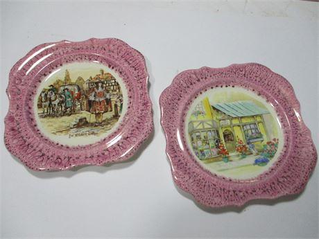 2 Vintage England Lancaster & Sandlanf Trimmed Fancy Art Plates