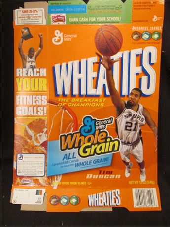 New Opened Flat Tim Duncan NBA Wheaties Cereal Box