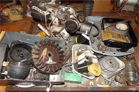 Small engine, tray of hardware, etc