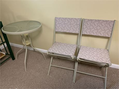 FOLDING CHAIRS AND PATIO TABLE